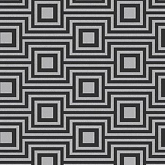 Geometric Square Stripe Wallpaper Charcoal Silver Metallic Vinyl Arthouse Modena