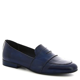 Leonardo Shoes Women's handmade slip-on loafers shoes in blue calf leather