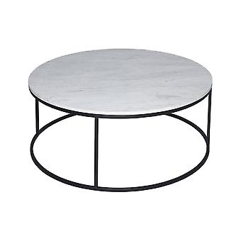Gillmore White Marble And Black Metal Contemporary Circular Coffee Table