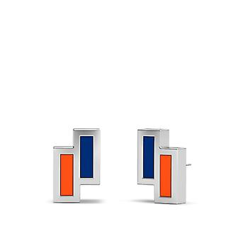 New York Mets Sterling Silver Asymmetric Enamel Stud Earrings In Blue and Orange