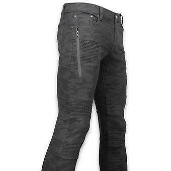 Ripped Jeans - Slim Fit Biker Jeans Camouflage - Black
