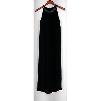 Fairchild Dress Sleeveless Maxi w/ Ribbon Tie & Embellished Neck Black A427916