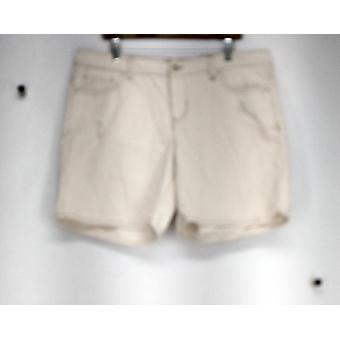 Attention 5 Pocket Distressed Detail Denim Ivory Shorts Womens