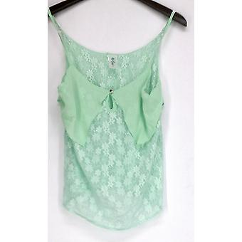 Sace Top Layered Lace Camisole w/ Keyhole Detail Mint Green Womens