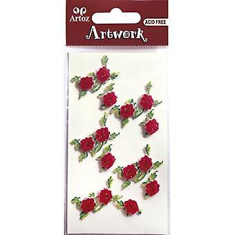 Rode rozen Glitter Craft versiering door Artoz
