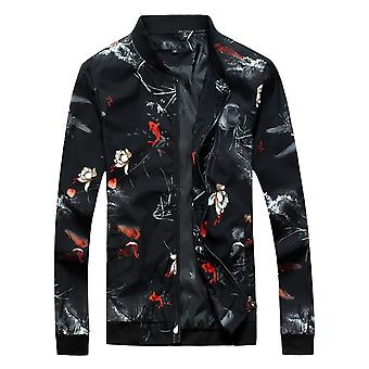 Allthemen Men's Jacket Floral Big Size Autumn Zipper Bomber Jacket