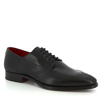Leonardo Shoes Men's handmade smart lace-ups shoes in black calf leather