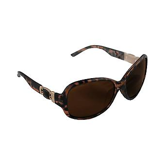 Sunglasses oval polarizing Glass brown Leopard S327_4 FREE BrillenkokerS327_4