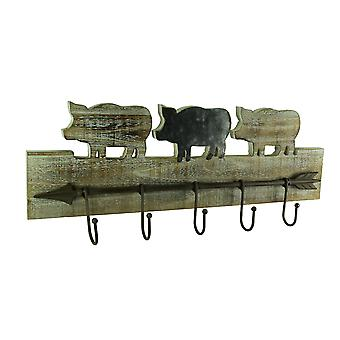Rustykalne drewniane dekoracyjne metalowe strzałka ściana hak
