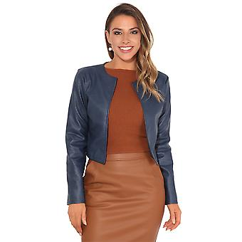KRISP Damen Damen PU Leder abgeschnitten Jacke Open Blazer Langarm Bolero Achselzucken Mantel