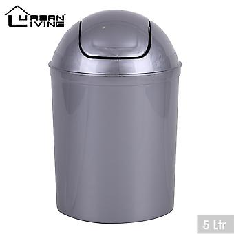 Grå plast 5 liter mini swing toppen lokk Avfallsskuff kontor hjem bad toalett