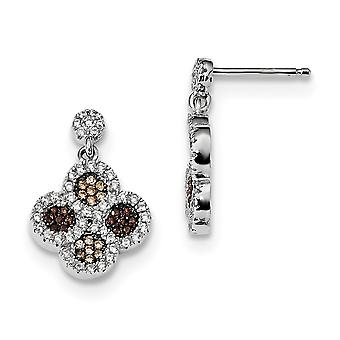 925 Sterling Silver Pave Brown Rhodium plated and CZ Cubic Zirconia Simulated Diamond Brilliant Embers Flower Dangle Pos