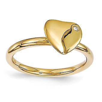2.25mm 925 sterling sølv bezel polert stables uttrykk 14k gullbelagt kjærlighet hjerte diamant ring smykker gaver