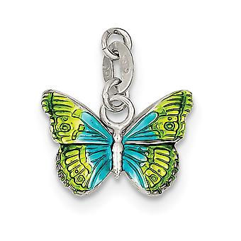 925 Sterling Silver Polished Open back Textured back Enameled Charm Pendant Necklace Jewelry Gifts for Women