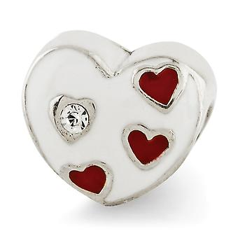 925 Sterling Silver Silver Polished Antiquário Reflections Kids Enameled Love Heart With Hearts Bead Charm Pendant Necklace