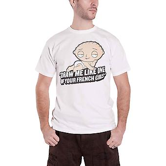 Family Guy T Shirt Stewie French Girls TV Show Logo new Official Mens White