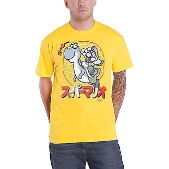 سوبر ماريو تي شيرت يوشي اليابانية الشعار الجديد الرسمية رجال الأصفر