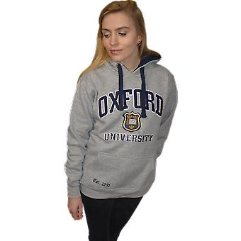 Ou129 licensed unisex oxford university™ hooded sweatshirt grey
