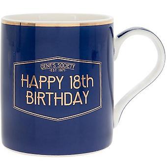 Lesser & Pavey Fine China Gents Society Happy 18th Mug