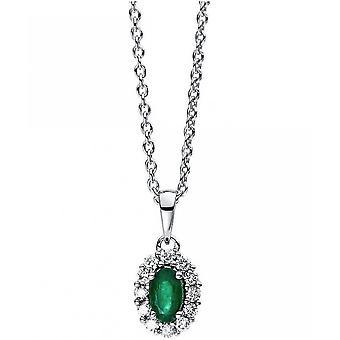 Edelsteen ketting Diamanten 0.13 CT. Smaragd 0,24 CT.