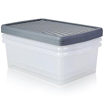 Wham Storage Pack Of 3 - 37 Litre Wham Plastic Storage Boxes With Lids