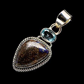 Boulder Opal, Blue Topaz 925 Sterling Silver Pendant 1 1/2