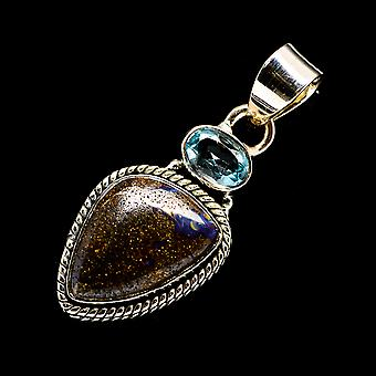 Boulder Opal, Blue Topaz 925 Sterling Argento Ciondolo 1 1 1/2