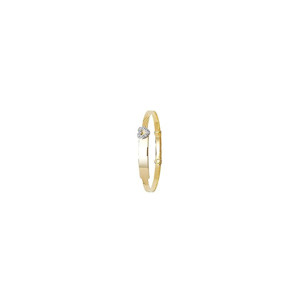 Eternity 9ct Gold Kids/Baby Cubic Zirconia Heart ID Expanding Bangle
