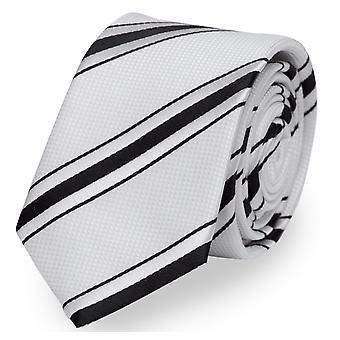 Schlips Krawatte Krawatten Binder 6cm weiß schwarz gestreift Fabio Farini
