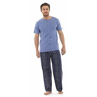 Tom Franks Mens Jersey katoen Check pyjama's Lounge Wear