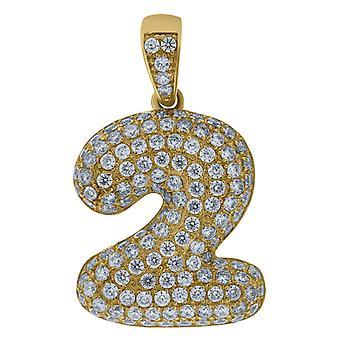 10k Yellow Gold Mens Women Cubic Zirconia CZ Sport game Number 2 Charm Pendant Necklace Measures 28.3x13.00mm Wide Jewel