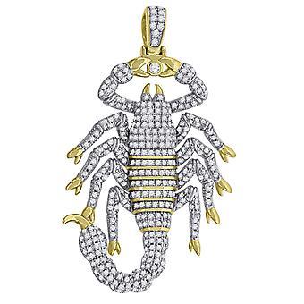 925 Sterling Silber gelb Ton Mens CZ Zirkonia simuliert Diamant Skorpion Tier Anhänger Halskette Schmuck Schmuck G