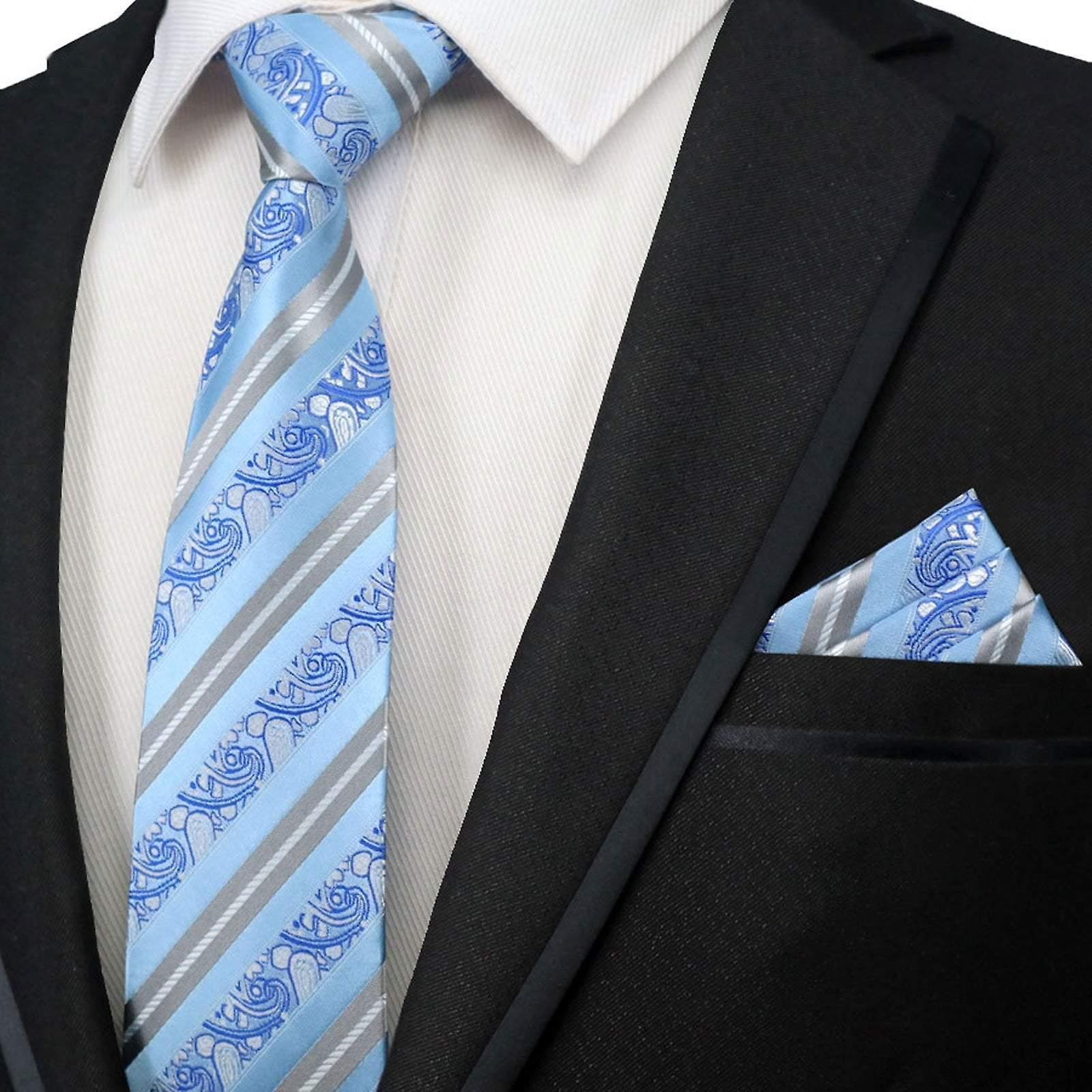 Baby blue & silver stripe necktie & pocket square set