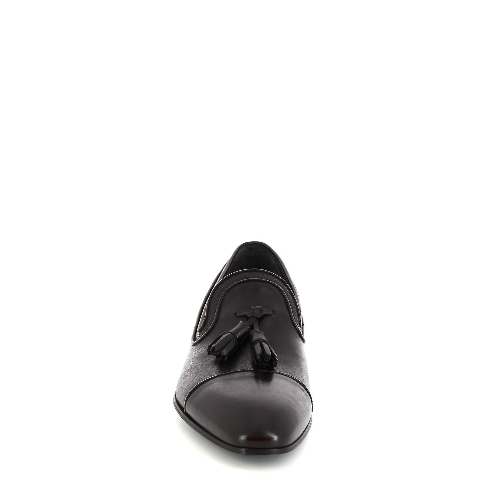 Leonardo Shoes Men's handmade classy tassel loafers in black calf leather QxHsfn