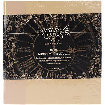 """Graphic 45 Staples Mixed Media Album 8""""X8"""" - Kraft"""