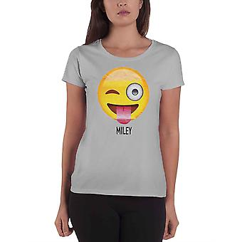 Emoji Icon t Shirt Parodie lustige Emotion Winking Miley Womens Skinny Fit Grey