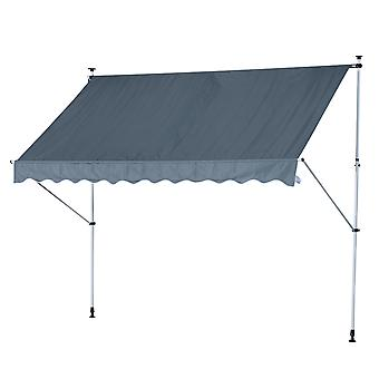 Outsunny 300 x 150cm Manual Awning Adjustable Height Angle Floor-To-Ceiling Shade Frame Grey