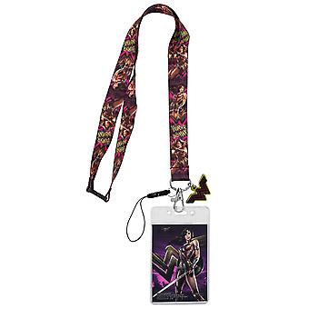 Wonder Woman Fierce Lanyard with Card Holder and Charm