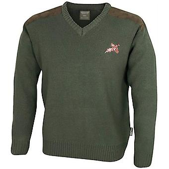 JACK PYKE V-Neck Shooting Jumper With Embroidered Pheasant Motif and Shouder Patches Green