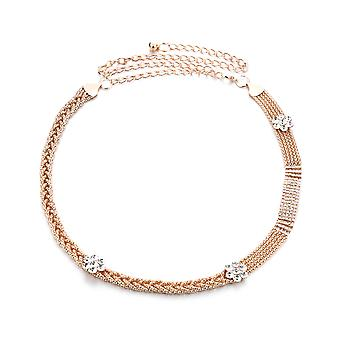 48 inch Diamante mesh belte med blomst Charms Chain midje belte