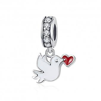 Sterling Silver Pendant Charm White Dove - 6239