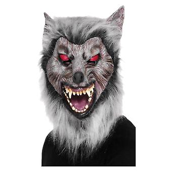Mens Latex Overhead Prowler Wolf Mask Halloween Fancy Dress Accessory