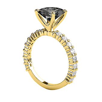 1.90 ctv Black Diamond Ring 14K gult guld Princess Cut patiens med accenter Designer