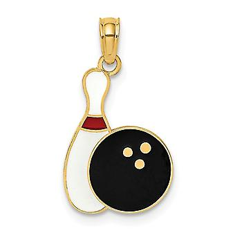 14k Gold Bowling Ball and Pin With Enamel Jewelry Gifts for Women - .9 Grams