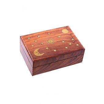 Gothic Homeware Stars & Moons Wooden Trinket Box