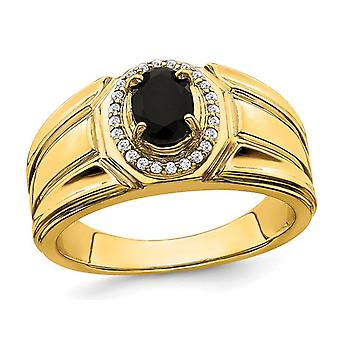 Mens 2/3 Carat (ctw) Black Onyx Ring in 14K Yellow Gold with 1/8 carats (ctw) Diamonds