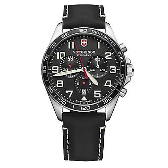 Victorinox Swiss Army Fieldforce Chronograph Black Dial Black Leather Strap Men's Watch 241852
