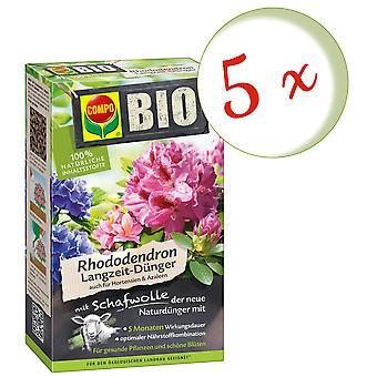 Sparset: 5 x COMPO BIO Rhododendron und Hortensien Langzeit-Dünger mit Schafwolle, 2 kg