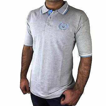 Polo shirt with square compass embroidery logo [black, grey, blue]