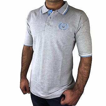 Polo skjorte med firkantet kompass broderi logo [svart, grå, blå]